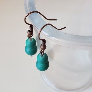 Handmade Teal Glass Earrings with Bronze Accents